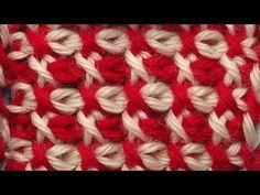 Tunisian crochet pattern   Двухцветный тунисский узор вязания   2 - YouTube