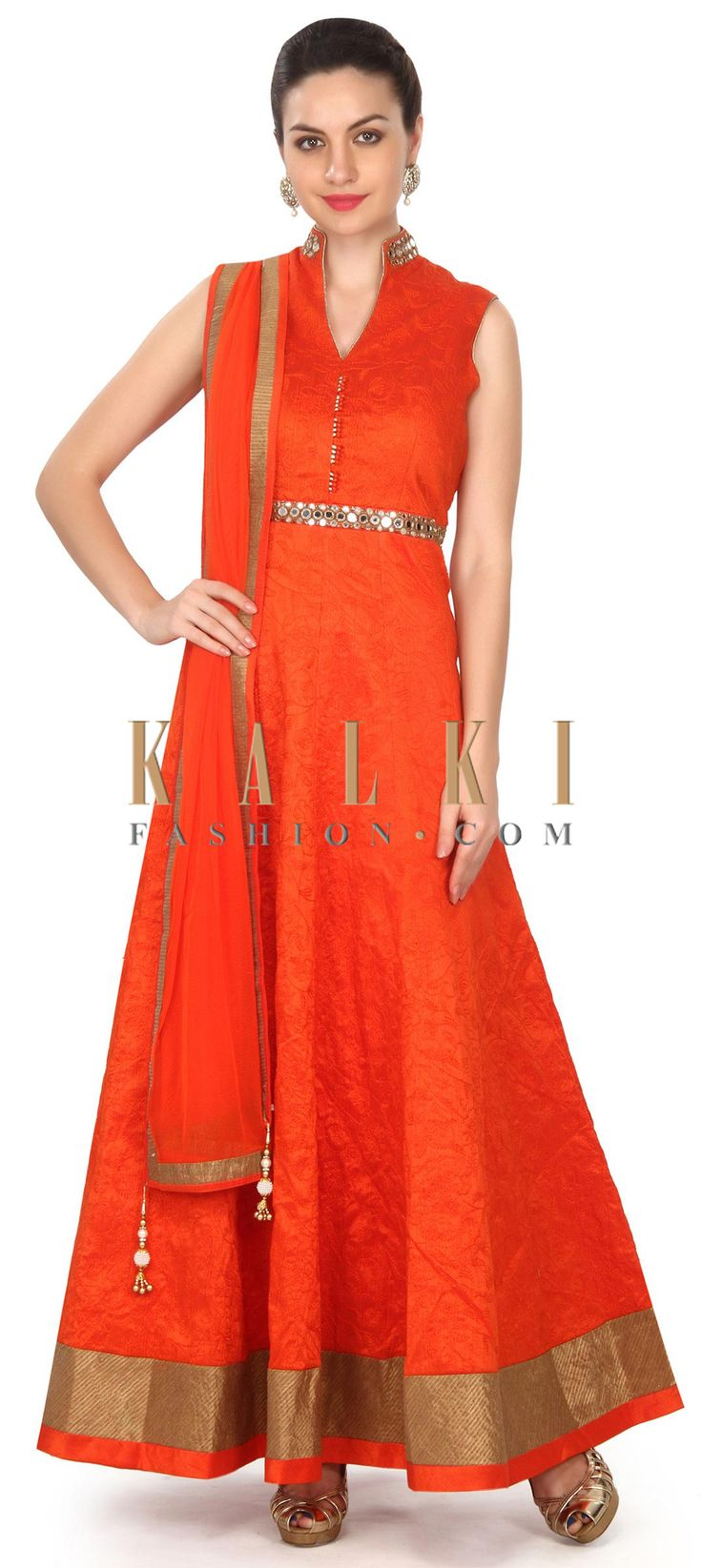 Buy this Orange anarkali suit adorn in thread and mirror work only on Kalki