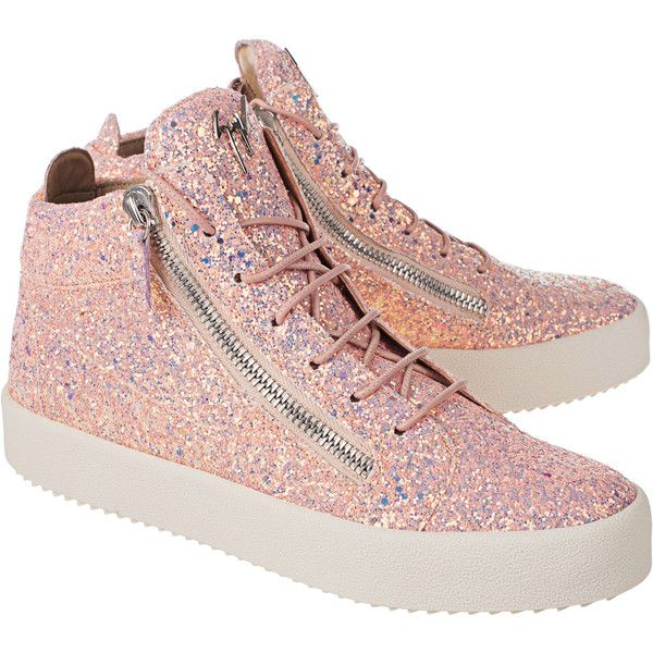 GIUSEPPE ZANOTTI May London Matt Glitt Barbie Rose // Sneaker with... (¥79,405) ❤ liked on Polyvore featuring shoes, sneakers, glitter sneakers, leather high tops, rose sneakers, glitter high top sneakers and sparkly high tops