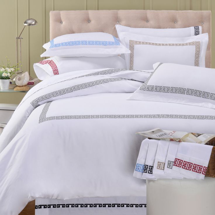 Bring a touch of the Mediterranean with the Kendell duvet cover set made of 100-percent cotton. Featuring a Greek bordered design available in a variety of colors, this exquisite set is machine washable for easy care.