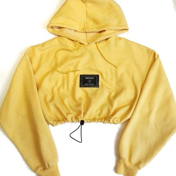 Reworked Versace Patch Crop Hoody (€55) ❤ liked on Polyvore featuring tops, hoodies, sweatshirt hoodies, cropped hoodie, hoodie crop top, versace hoodies and crop top