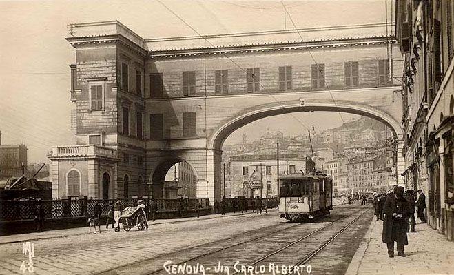 GENOVA - Via Carlo Alberto, oggi Via Gramsci - FOTO STORICHE CARTOLINE ANTICHE E RICORDI DELLA LIGURIA