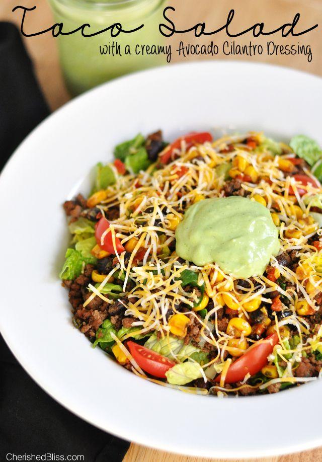 The Ultimate Taco Salad w/ a Creamy Avocado Cilantro Dressing