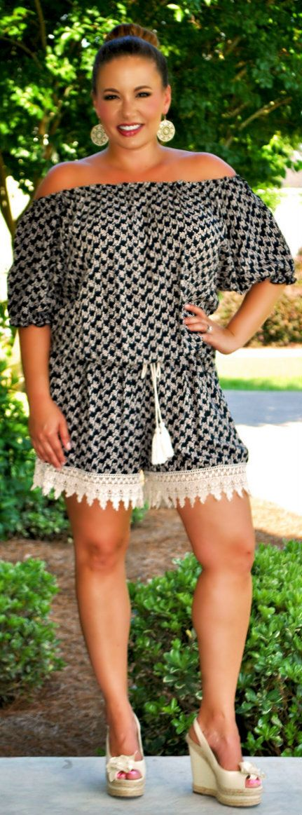 This looks like it could be worn off the shoulder or on. Would prefer more color, but adding a colorful longer crocheted vest would add some pop. The sleeve is good for anyone wanting to have arms covered. Love the lace trim on the shorts.