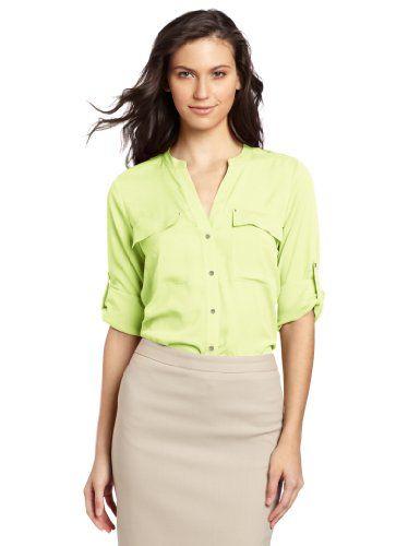 Calvin Klein Women's Crew Neck Roll Sleeve Shirt, Key Lime, Medium Calvin Klein