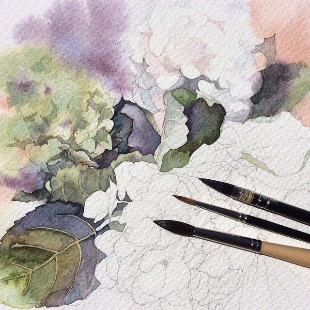 Процесс... Зеленая гортензия. #art #artwork #paint #painting #draw #drawing #watercolor #watercolorpainting #aquarelle #topcreator #акварель #гортензия #gydrangea