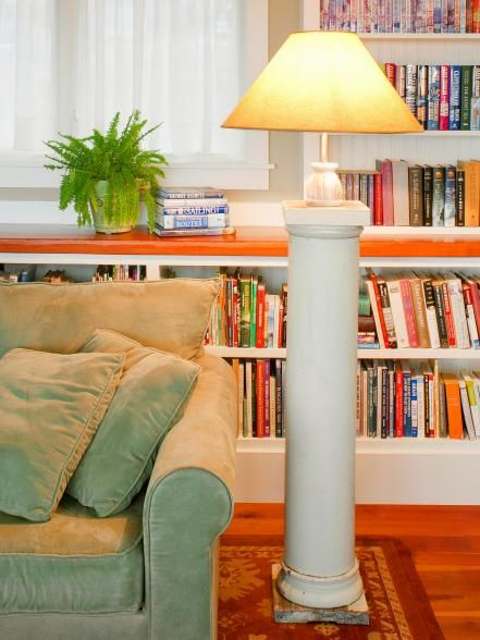 Old columns are easy to find at most any salvage yard, and it is just as easy to drill a hole toward the bottom of the column and wire it to make a floor lamp with tons of character. Design by Joanne Palmisano