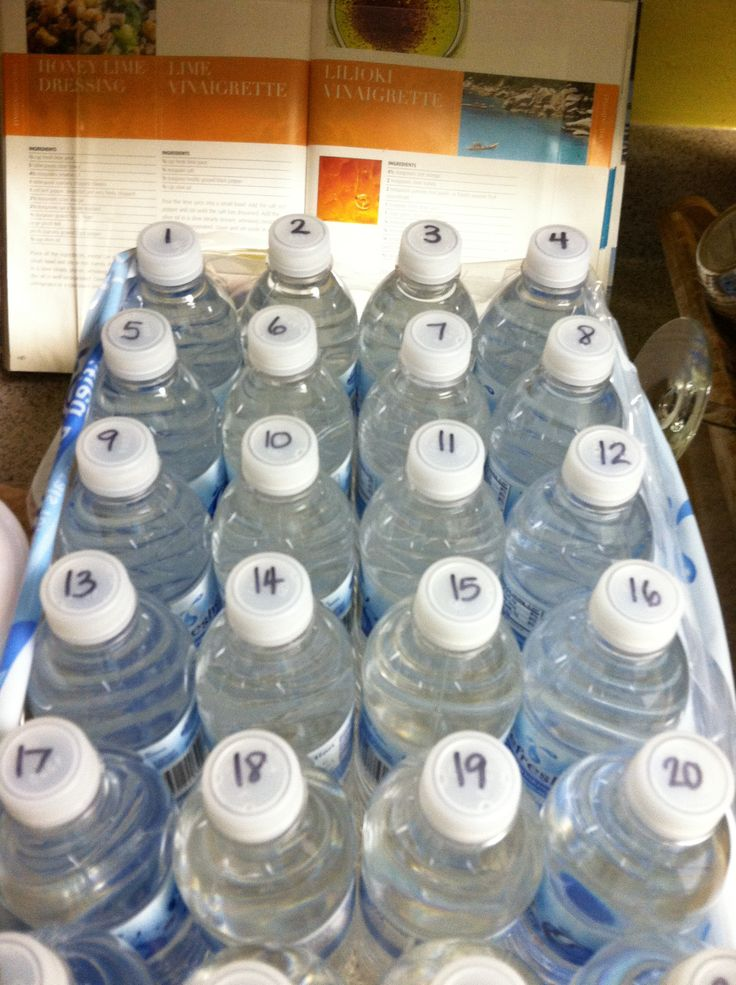 Number water bottles for large gatherings so guests can keep track of their bottle.  (My family has been doing this for years...time to share the idea!)
