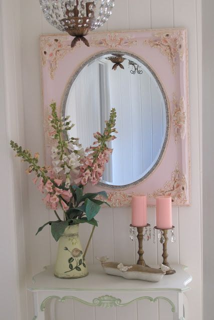 Old frame mirror and dresser would change color scheme to blues creams or a shade of green