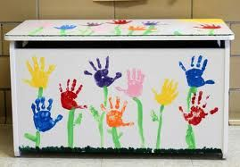 painted toy chest - use kids hand prints