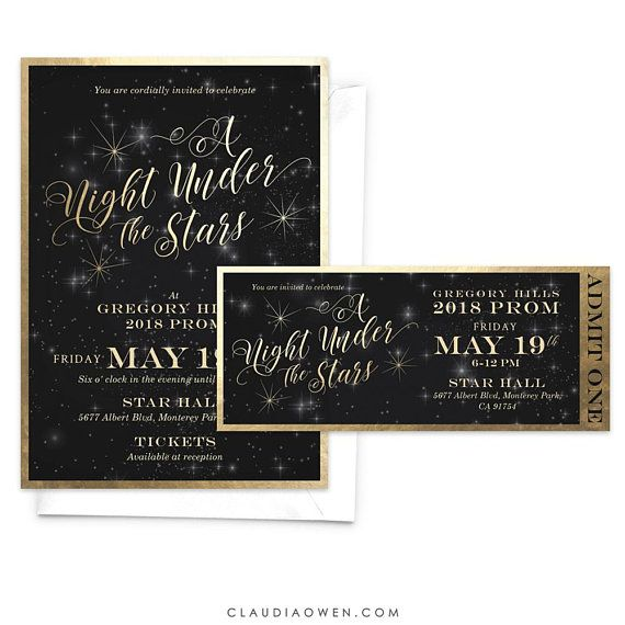 a night under the stars prom invitation ticket starry night high