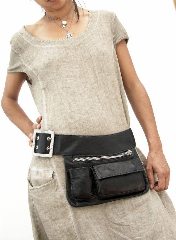 Bkack  Leather Hip Bag, bum bag, fanny pack, travel pouch, belt pocket