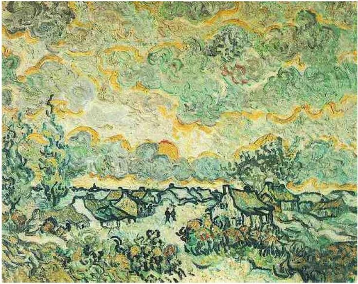 Cottages and Cypresses: Reminiscence of the North Vincent van Gogh Painting, Oil on Canvas on panel Saint-Rémy, France: March - April, 1890