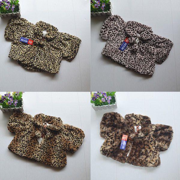 Мода модный малышей девушки леопарда пальто шерсти теплая ребенок с плащ куртки и пиджаки