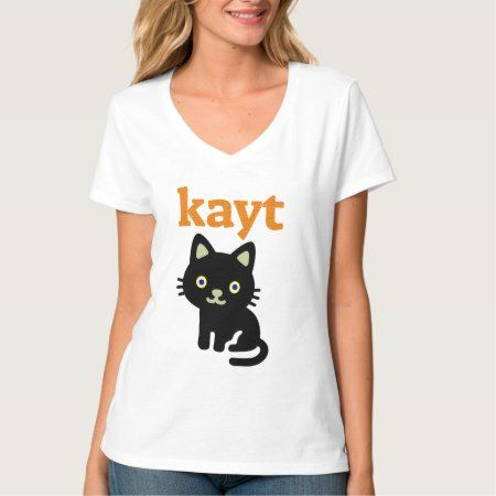 Text in Manx: kayt and black cat T-Shirt - click/tap to personalize and buy.