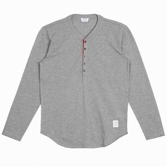 [G228]トムブラウン/THOM BROWNE/MJL017A00047 060/メンズ/ヘンリーネック/コットン/長袖/Tシャツ/ポロシャツ/グレー系