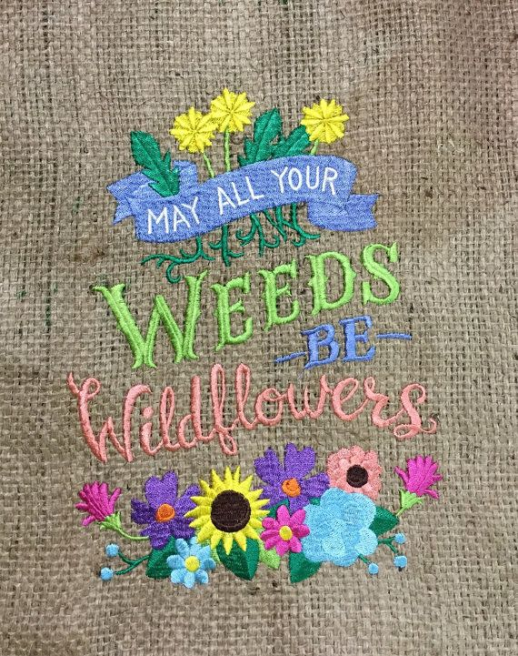 Embroidered burlap garden flag by HagzBagz on Etsy