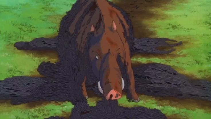 A screenshot in Princess Mononoke of a tatarigami (curse spirit) which are depicted as worms surrounding the wild boar acting as a plague as it has been possessed.