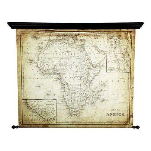 EXPLORA antiqued fabric map of Africa 126 x 154cm