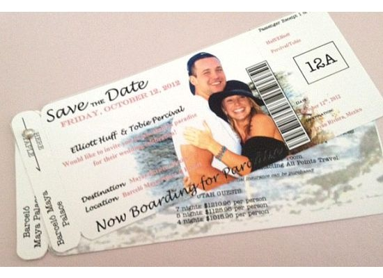 Save the Date boarding passes So cute for a destination wedding