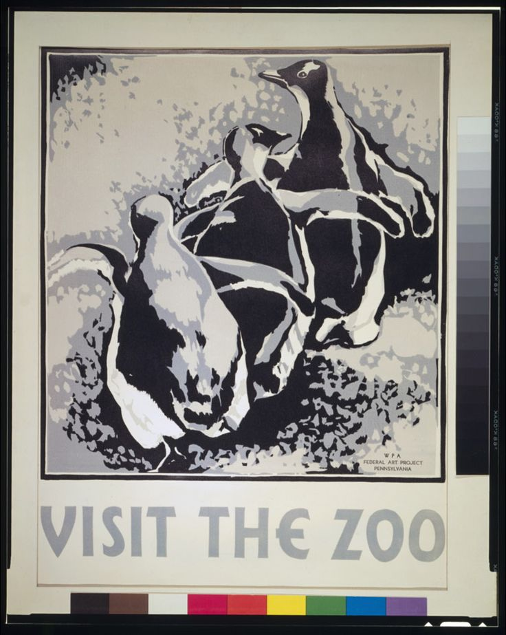 Poster promoting the zoo as a place to visit, showing three penguins.    NOTES: Date stamped on verso: Mar 27 1937.: Animal Posters, Picture-Black Posters, Wpa Posters, Zoos Penguins, Penguins 1936, Philadelphia Zoos, Zoos Three, Three Penguins, Zoos Posters