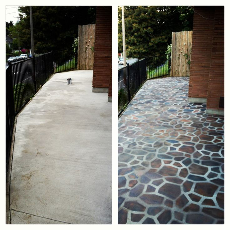 Before And After Patio Picture. I Used A Spray Paint Cement Tutorial On  Pintrest.