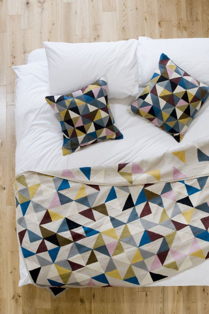 Niki Jones' Harlequin blanket is inspired by the age old craft of patchworking.