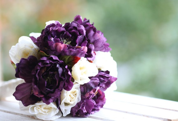 Plum Wedding Bouquet by VVDesignsShop on Etsy, $75.00