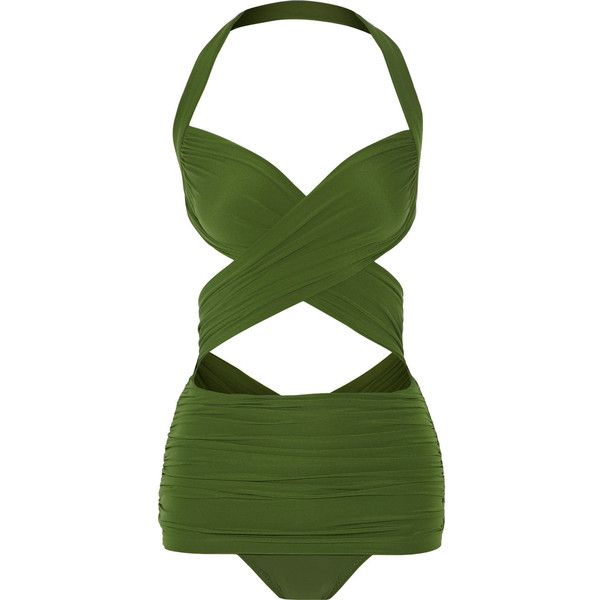 Norma Kamali XO Bill Mio swimsuit (245 SGD) ❤ liked on Polyvore featuring swimwear, one-piece swimsuits, army green, swim suits, norma kamali, one piece swimsuits, swimsuit swimwear ve norma kamali swimwear