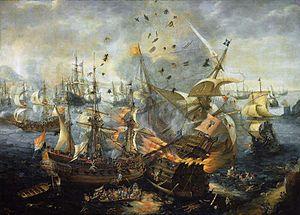 The explosion of the Spanish flagship during the Battle of Gibraltar, 25 April 1607, by Cornelis Claesz van Wieringen (1577–1633) (Rijksmuseum Amsterdam)