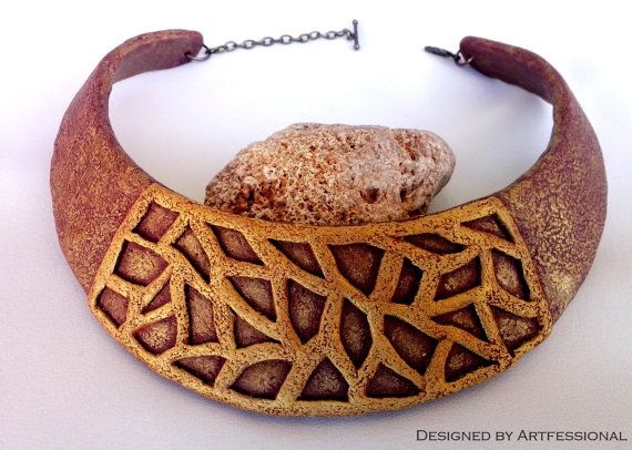 Antique gold burgundy copper carved polymer clay by Artfessional