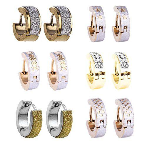 BodyJ4You® Hoop Earrings Piercings Huggie Earring Gold Value Pack 6 Pairs