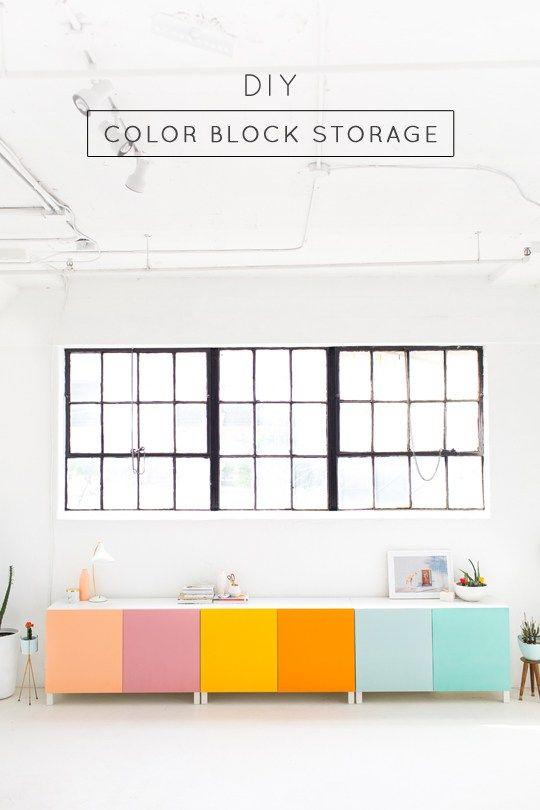 DIY color block storage - sugar and cloth