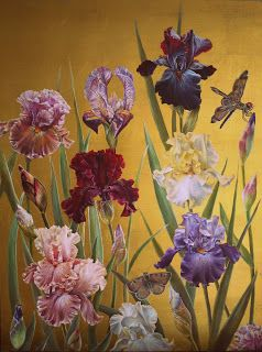 Ruth Winding: Irises- oil on 23.5 carat gold leaf (50cm x 66cm)