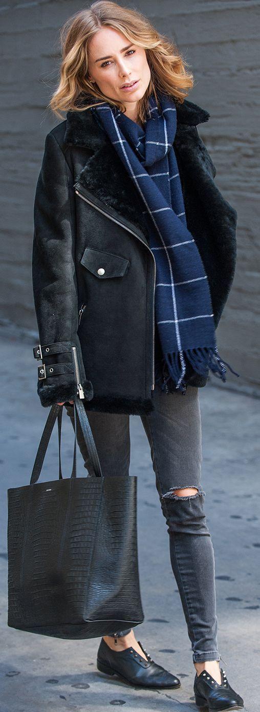 Anine's World Black Shearling Jacket Navy Check Scarf Black Ripped Jeans Black Flats Fall Inspo