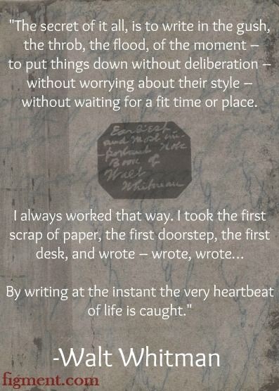 Writing inspiration from Walt Whitman and Figment