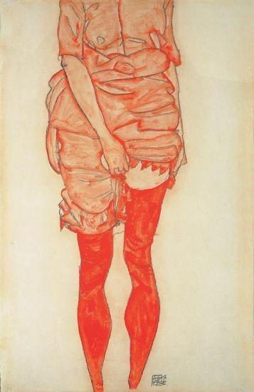 stehende frau in rot, 1913 • egon schiele