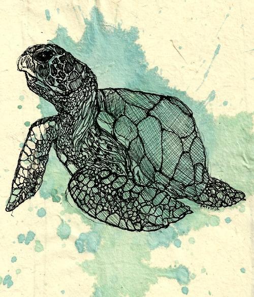 Sharpie art over a splash of watercolor~