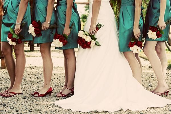 Teal wedding: Colors Combos, Idea, Red Bouquets, Bridesmaid Dresses, Teal Dresses, Red Shoes, Teal Wedding, Wedding Colors, Red Wedding