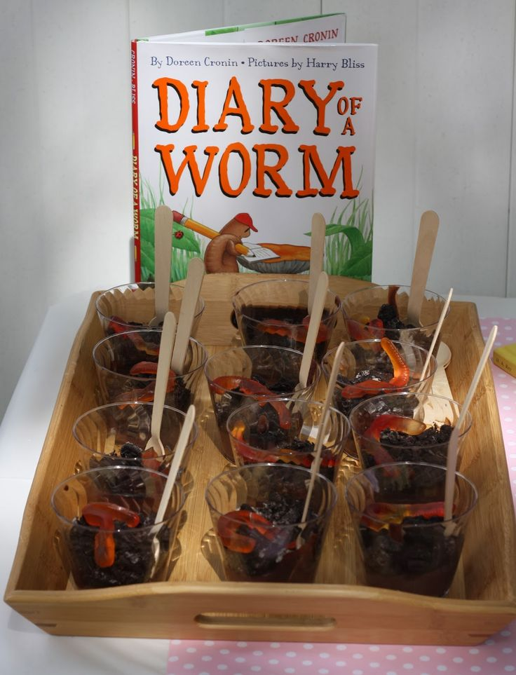 Children's Book and Snack Idea: Diary of a Worm with Dirt Pudding