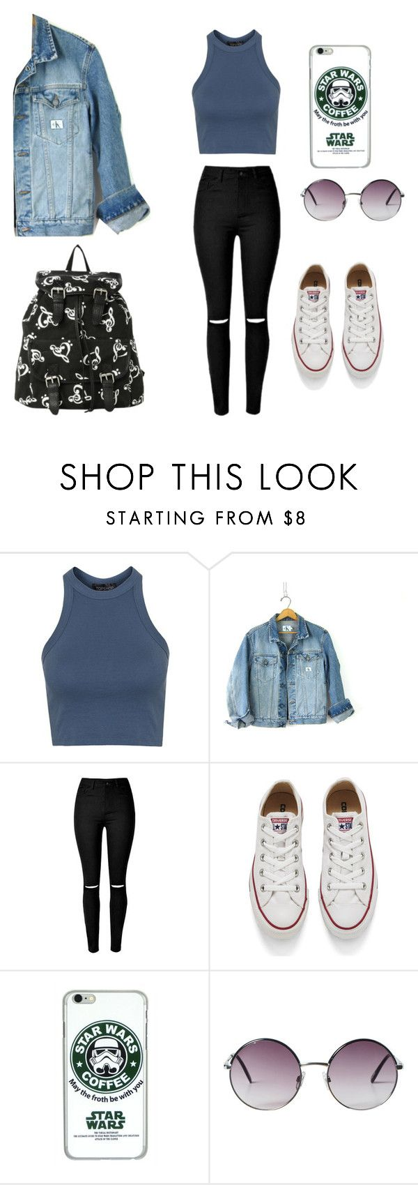 """1"" by banana-zz1 ❤ liked on Polyvore featuring Topshop, Calvin Klein, Converse and Monki"