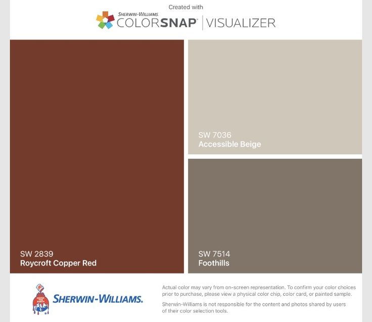 I found these colors with ColorSnap® Visualizer for iPhone by Sherwin-Williams: Roycroft Copper Red (SW 2839) for the front door, Accessible Beige (SW 7036) for the walls, and Foothills (SW 7514) to cover the terrible green accent wall.