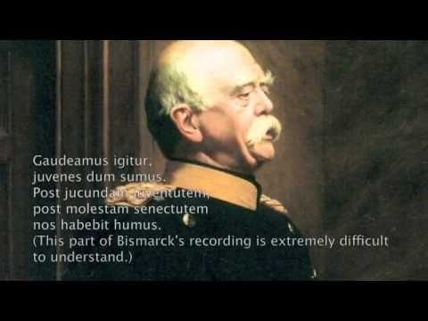 Otto von Bismarck (1815-1898). Einzige Aufnahme. Oktober 1889. Edison Phonograph - YouTube