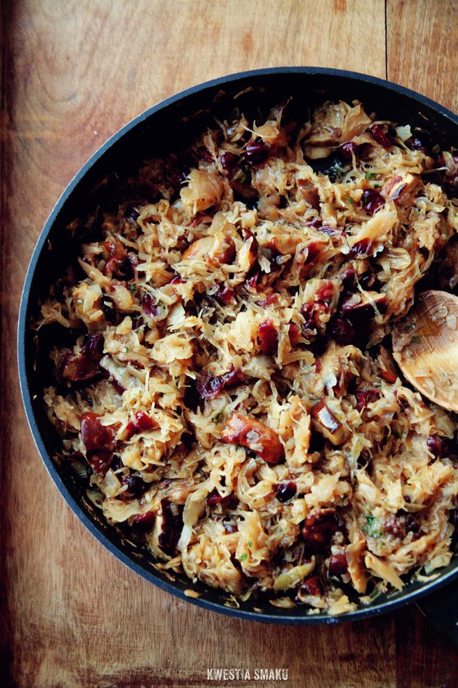 Traditional Polish Christmas Eve's Cabbage-I make a similar dish with sauerkraut, bacon, onion, butter and sugar--no mushrooms or cranberries--they are scraping the dish to the bottom and fighting over the leftovers!