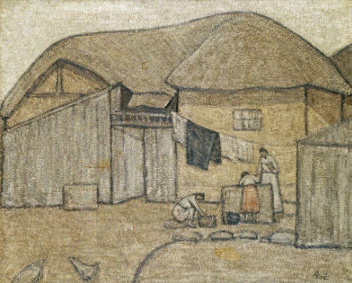 Park Soo-keun, A Cottage near the Well, 1953 Oil on Canvas, 80.3 x 100 cm