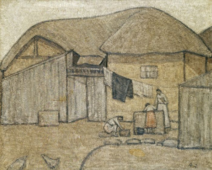 Park Soo-keun, A Cottage near the Well, 1953 Oil on Canvas, 80.3 x 100 cm