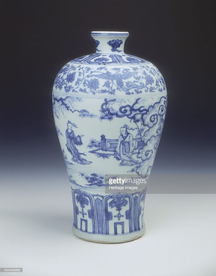 Blue and white meiping vase, Ming dynasty, China, 2nd half of 15th century. A blue and white meiping vase decorated in the so-called 'windswept' style. The main decoration is of two scholars meeting in a landscape, their attendants on the reverse, one carrying a qin, the other a dragon-headed staff. The two groups are separated by pine and willow trees. The reverse shows a house entrance and swirling cloud, the landscape with clouds at the border, two further borders round the neck, the…
