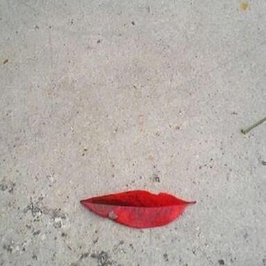 "I immediately see the face of a ""classic beauty"" with the leaf being the lips."