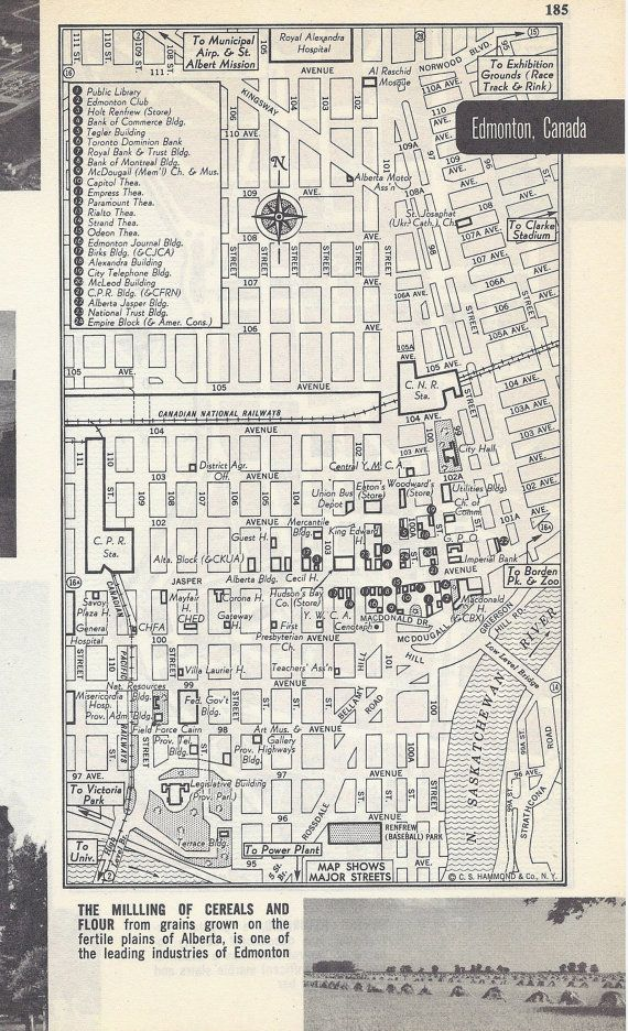 This vintage map was carefully removed from a 1950s book of city street maps. There is a map on both sides of the page. The first side has a