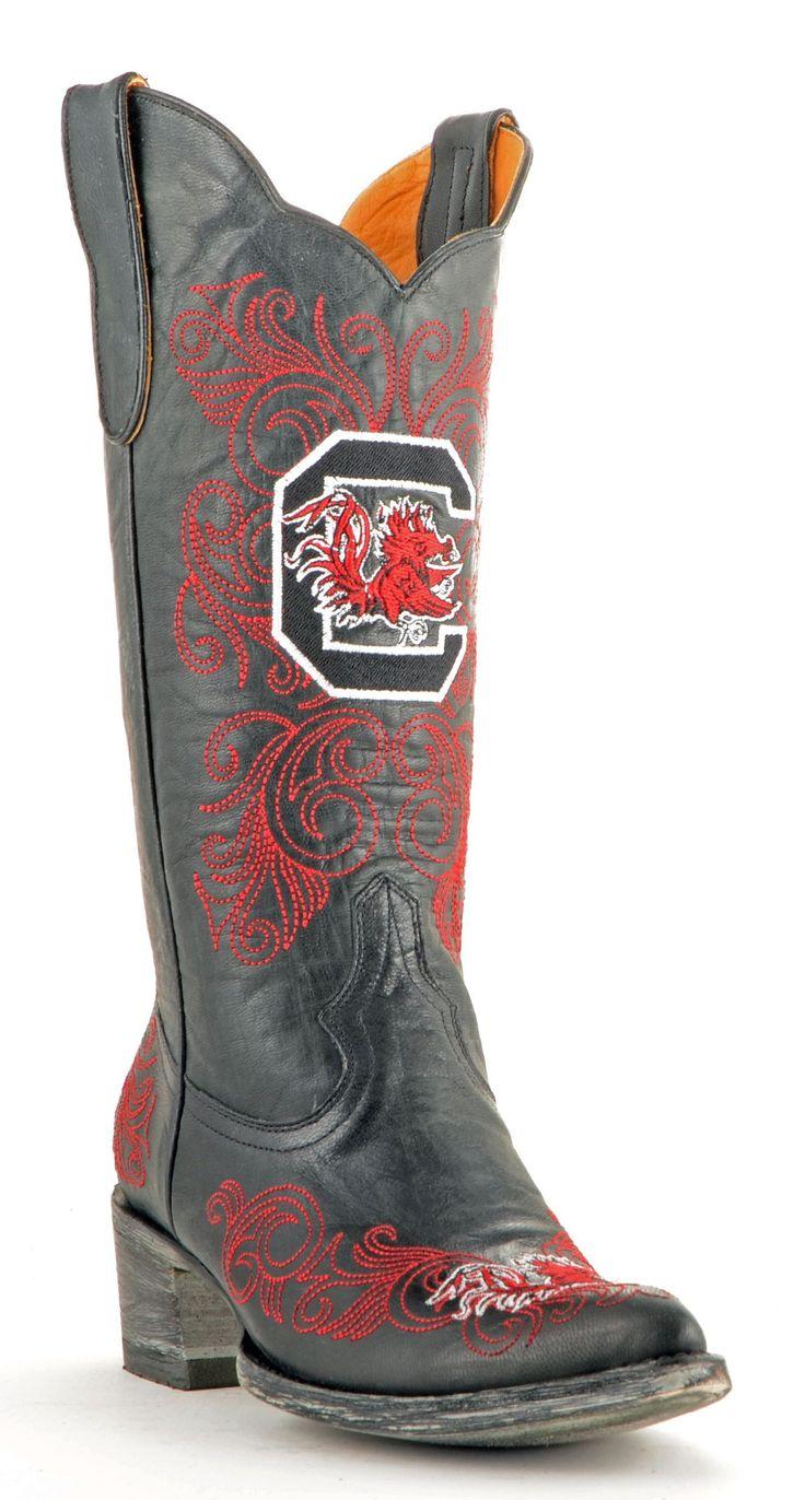 Gameday U Of S Carolina Ladies Leather Boots - Black